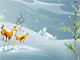 Wunderschöne Cartoon-Rentiere mit Schnörkel und Lorbeer... so hübsch