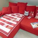 Quilt rot/weiß mit Eulen und passendem Kissen