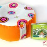 Meditations-Kissen Orange mit Yoga-Musik - das Entspannungspaket :)