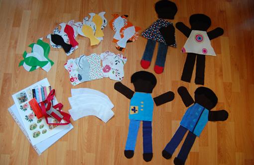 Zuschneide-Marathon: Puppen, Vögel, Nadelkissen, Teelichthüllen...