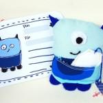 Mr GetWell, das blaue Gesundheitsmonsterchen mit Karte und Teebeutel