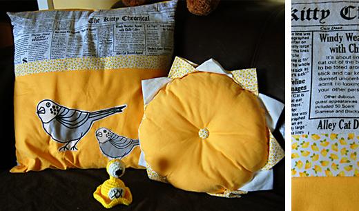 Gelbe Kissen mit Ernie See-Slug.