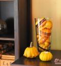 Einfach, schnell und dennoch hübsch: Kürbisse mit Zierbändern in Vase
