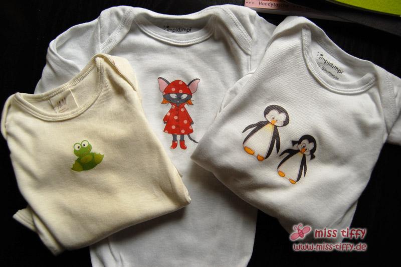 Drei mal hübsch gebügelt: Babybodies mit süßer Verzierung