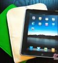 Die schicke iPad-Papp-Attrappe und die beiden Textilfilzhüllen
