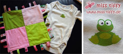 Erste Babyprojekte: Schlaufen-Tuch und gepimpter Babybody