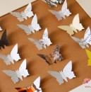 Büro-Schmetterlinge mit Text etc. aus Magazinen.