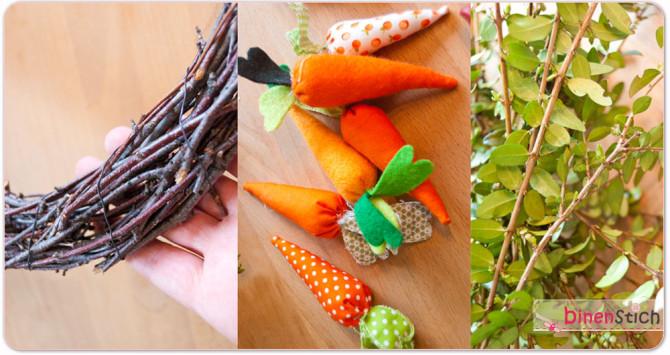 Material: Stoffkarotten, Birkenreisig-Kranz und Buchsbaumzweige