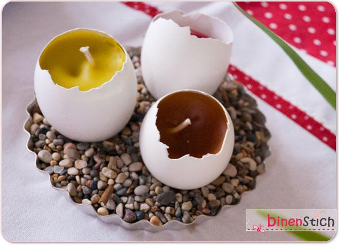 Resteverwertung aus Eierschalen und Kerzenresten: Eierkerzen!