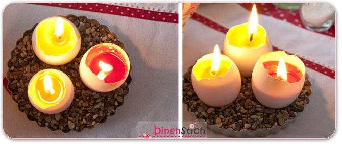 Resteverwertung aus Kerzenresten und Eierschalen: Eierkerzen