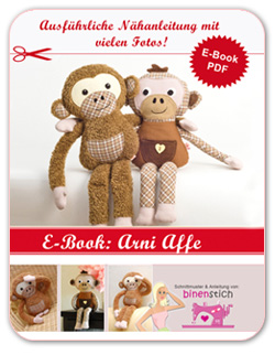 Kuscheltier Affe nähen: Anleitung und Schnittmuster als E-Book im Shop  | binenstich.de