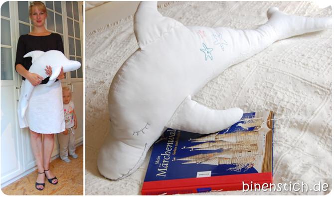 Delfin-Schnittmuster vergrößert: Dolli Delfin ganz groß | binenstich.de