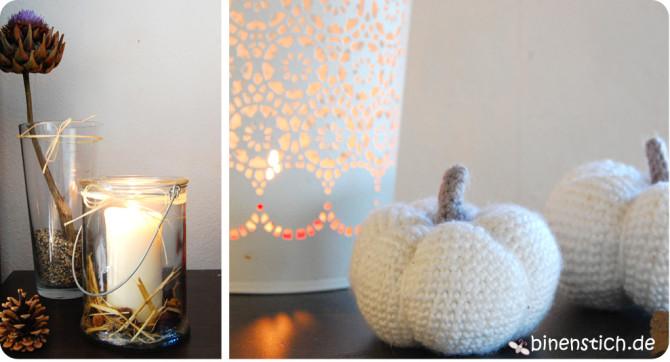 Herbst-Deko: Häkelkürbis, Artischockenblüte, Kerzen | binenstich.de