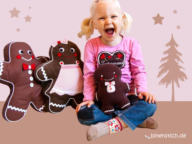 Nähen für Weihnachten: Anleitung Lebkuchenmann + Familie | binenstich.de