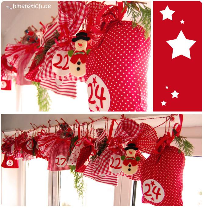 Adventskalender selbst genäht: 24 rote Säckchen
