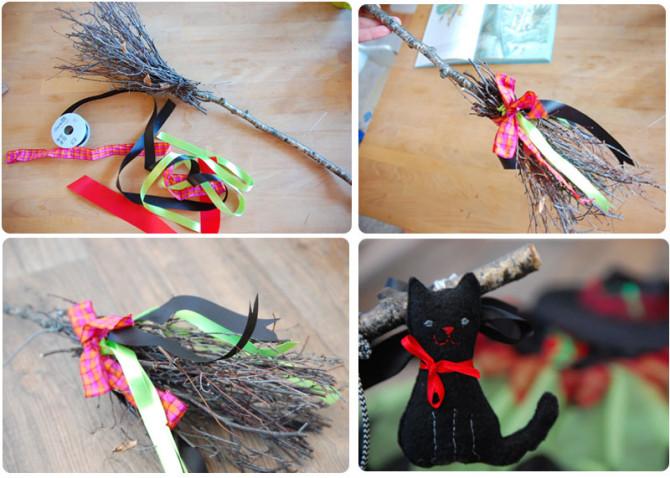 Wir basteln einen Hexenbesen mit Zierbändern und schwarzer Katze | binenstich.de