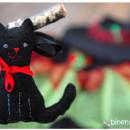 Eigentlich für Fasching, aber ebenso perfekt für Halloween: Hexenbesen mit schwarzer Katze | binestich.de