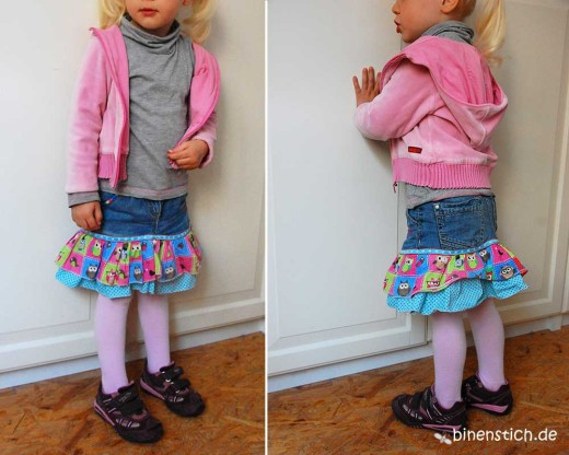 Jeans-Recycling: Röckchen aus zu kurzer Hose, nach Lillesol&Pelle, von binenstich | binenstich.de