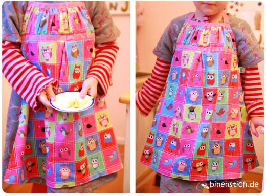 Küchenschürze für Kinder: Wende-Kinderschürze mit Eulen | binenstich.de