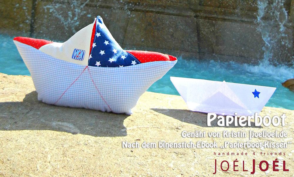 Papierboot-Kissen, genäht von Kristin | joeljoel.de