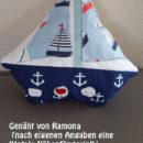 """Schiff-Kissen / Segelboot Kissen, Genäht von Ramona, nach dem binenstich-Ebook """"Segelboot"""""""