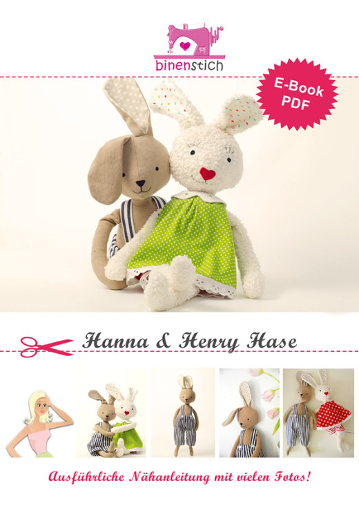 Hase nähen: Nähanleitung für Kuscheltier Hanna & Henry Hase  im Shop | binenstich.de