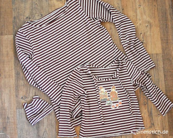 Streifenhörnchen-Familie: Coco-Shirt für Mama, Antonia-Shirt für Tochter, Mützchen fürs Puppenkind | binenstich.de