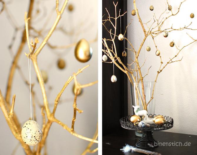 Goldene Ostern: Äste und ausgeblasene Wachteleier mit Goldsprühfarbe | binenstich.de