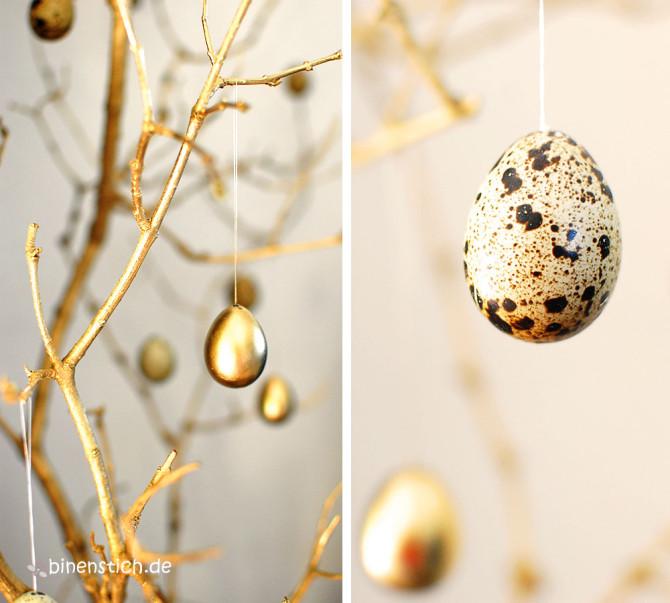 Goldene Ostern: Äste und ausgeblasene Wachteleier mit und ohne Goldsprühfarbe | binenstich.de