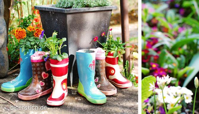 Gärtnern mit Kindern: Gummistiefel-Recycling | binenstich.de