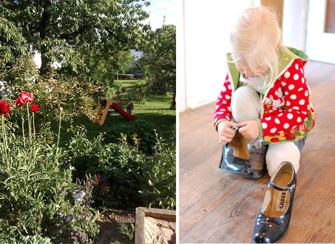 Gute Zeiten 19: Links der Traumgarten und rechts: Renovieren, Umräumen und gleichzeitig mal wieder Ausmisten. Das binenkind hilft, prüft aber nochmal, ob diese Schuhe nicht doch vielleicht eher in ihren Schrank als in den Müll gehören...