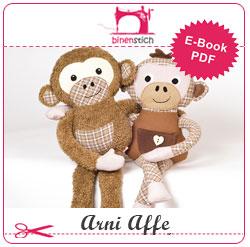 Schnittmuster und Anleitung für Arni Affe, den kleinen Schimpansen