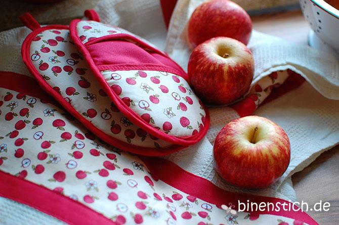 Topflappen-Ofenhandschuhe mit Apfelstoff | binenstich.de