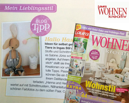 """Hanna Hase in """"Laura Wohnen Kreativ"""", 4/2015"""