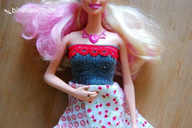 Kleid für Barbie nähen, mit Wäschspitze | binenstich.de