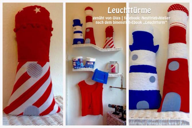 Leuchtturm-Trio, genäht von Olga | facebook: Nesttrieb-Atelier