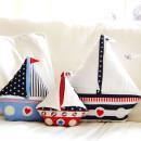 Segelboot Schiff-Kissen - Anleitung und Schnittmuster im Shop