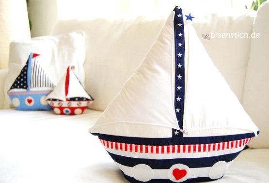 Segelboot nähen, Schiff-Kissennähen, Anleitung Segelboot Kissen nähen