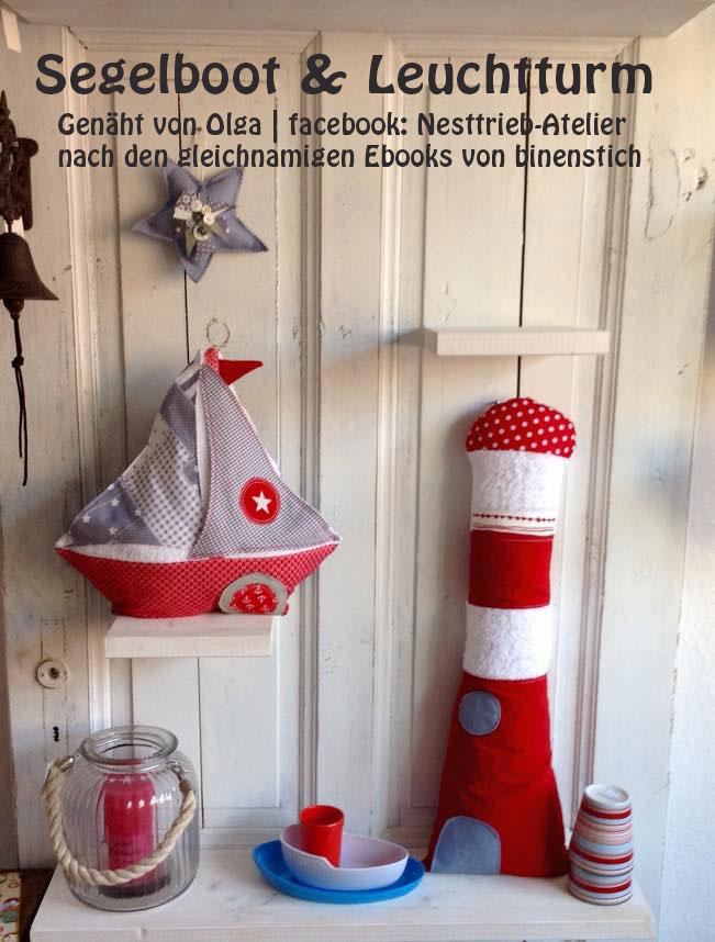 Leuchtturm & Segelboot, genäht von Olga | facebook: Nesttrieb-Atelier