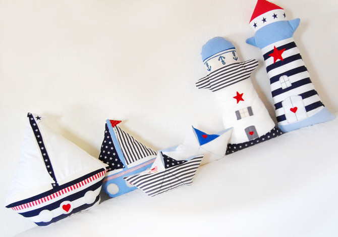 Maritime Deko: Leuchttürme, Segelboote, Papierschiffchen nähen | binenstich.de