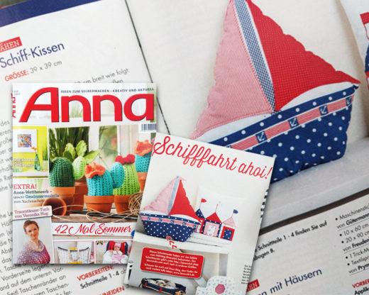 """Segelboot Kissen in der """"Anna"""", 7/2017"""