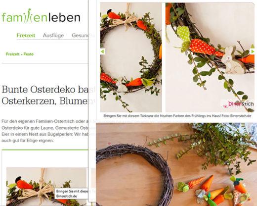 """Osterkarotten-Kranz auf dem Portal """"Familienleben.ch""""; Die Anleitung für die Stoff-Karotten sind im E-Book """"Henni Osterhase"""" enthalten."""