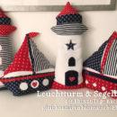 Segelboot Schiffkissen & Leuchtturm, genäht von Inge nach den gleichnamigen binenstich-Ebooks