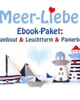 E-Book-Paket Meerliebe Leuchtturm Segelboot Papierbootkissen