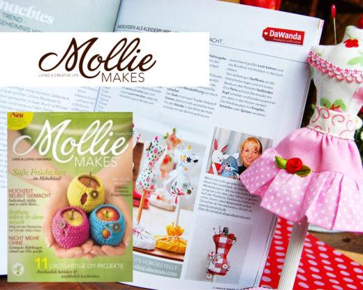 binenstich und Miniatur-Schneiderpuppe in Mollie Makes, März 2012