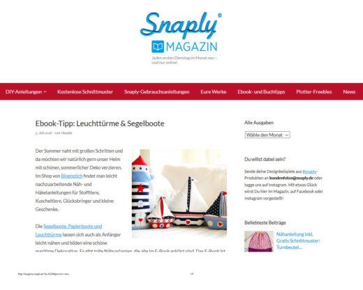 """Leuchttürme und Segelboote im """"Snaply-Magazin"""", 2016"""